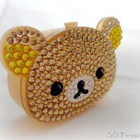 Kawaii bear rhinestone case deco pill box gift for by celdeconail