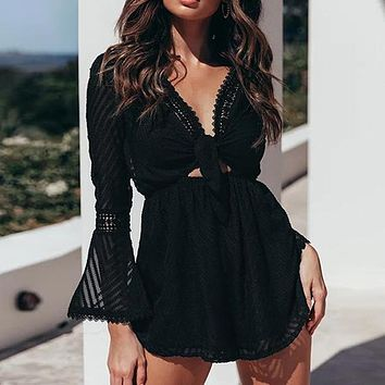 Sexy Chiffon Women Playsuit Rompers Lace Deep V Romper Bow Transparent Casual Flare Sleeve Playsuit