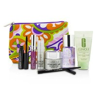 Clinique Travel Set: Make Up Remover+Liquid Facial Soap+Cream+Eye Treatment+Skinny Stick+Mascara+Lip Gloss+Bag Skincare