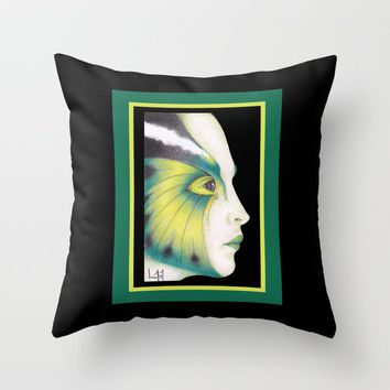 Butterfly Girl #3 Throw Pillow by drawingsbylam