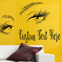 Eyelashes Eye Wall Decal, Custom Text Salon Decal, Girls Eyes Eyebrows Wall Decor, Beauty Salon Decoration, Make Up Wall Decor,  nm139