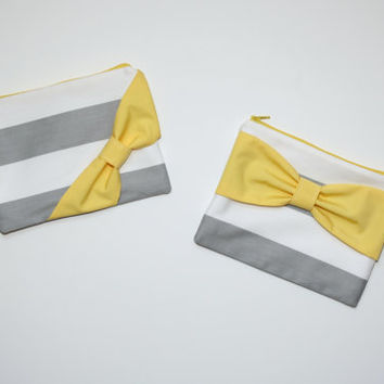 Cosmetic Case / Zipper Pouch / Makeup Bag - Gray Stripes with Yellow Bow - Choice of Bow Style