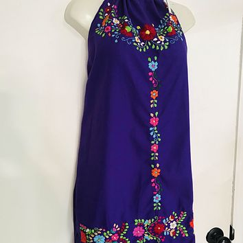 Mexican Embroidered Mini Halter Dress Open Back Purple