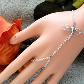 Silver Dragonfly Hand Chain, Hand Jewelry, Body Chain, Slave Bracelet, Infinity Ring, Finger Bracelet