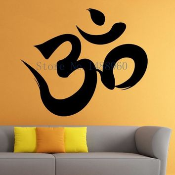 E297 hamsa Yoga Mandala Indian Mehndi Buddha oum OM Symbol Mascot Mantra Chakra Meditation DIY wall stickers home decor mural