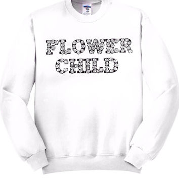 Flower Child Unisex Crewneck Sweatshirt Golden Youth women's clothing men's clothing cheap and affordable floral sweatshirt