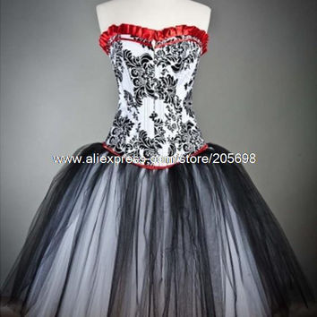 Red and Black Gothic Corset Burlesque Prom Party Dress Alternative Measures - Brides & Bridesmaids - Wedding, Bridal, Prom, Formal Gown
