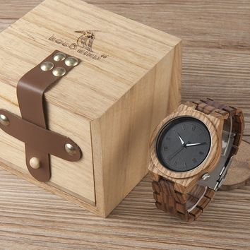 Luxury & Stylish Wooden Quartz Watch with Wood Wristband by Bobo Bird