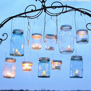 Hanging Mason Jars Lids 10 Outdoor Wedding Candle by treasureagain