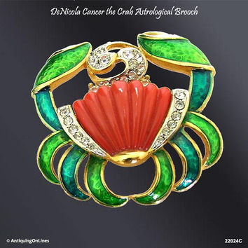 DeNICOLA Cancer the Crab Astrological Pin, Vintage RARE DeNicola Zodiac Cancer the Crab Enamel Rhinestone Carved Lucite Brooch