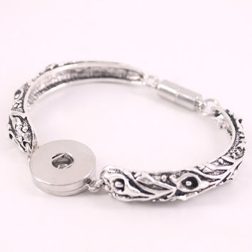 Vintage viking bohemian bracelet for women 18mm metal snap button jewelry B250 arm cuff one direction stering silver jewelry