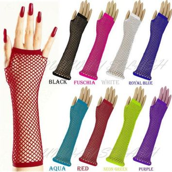 Womens Girls Long mesh fingerless Gloves Gothic Punk Rock Costume party Accessories FG-02