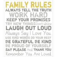 Family Rules Canvas, Yellow on White