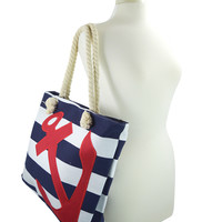 Nautical Sailor Navy Striped Anchor Applique Rope Handles Large Beach Tote Bag