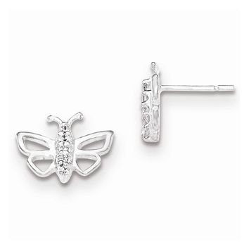 Sterling Silver Polished Bumble Bee CZ Post Earrings