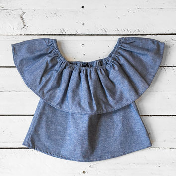Girls Chambray Flounce Top
