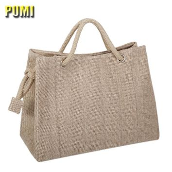 High Quality Women Linen Woven Luxury Tote Large Capacity Female Casual Shoulder Bag Lady Daily Handbag Fresh Beach Shopping Bag