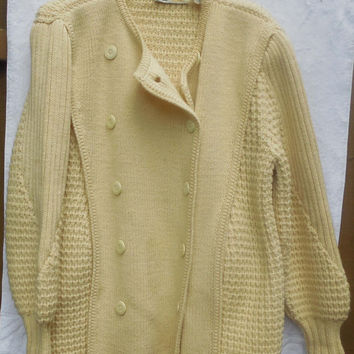 Vintage 1980s A Pallas Pure New Wool Cream Sweater Coat GORGEOUS Size Large