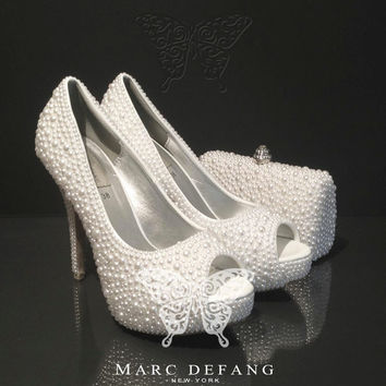Bridal Off White Mixed Pearl Peep Toe & Purse Luxury Set