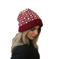 Knit Beanie Hat, Fair isle Hat, Slouchy Beanie Hat, Women Hat, Winter Hat, Knit fair isle Hat, Choose your color, Winter accessories