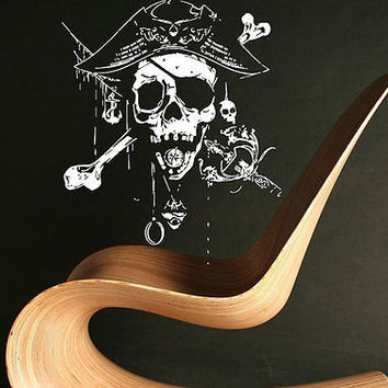 Jolly Roger Piracy Pirate Flag Skull Bones Wall Sticker Decor Room Decal tr232
