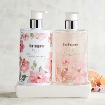 Pink Champagne Hand Soap & Lotion Caddy