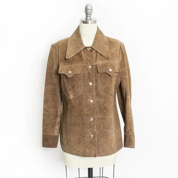 Vintage 1970s Suede Jacket - Brown Suede Leather Heavy Shirt - Small
