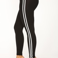 Late Brunch Striped Lounge Leggings - Black/White