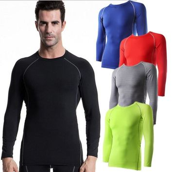 #1039 Mens Body Gym Sports Running Training Compression Muscle Base Layer Thermal Top Long Sleeve Shirts Tops 6Colors Size S-XXL
