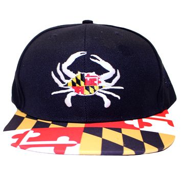 Maryland Flag Crab w/ White Crab Claws and Maryland Brim (Black) / Snapback Hat