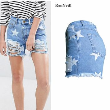 RenYvtil Female Destroyed Hole Stars Print Jeans Shorts Womens Denim Shorts 2017 New Ripped Ladies Straight Short Jeans S-2XL