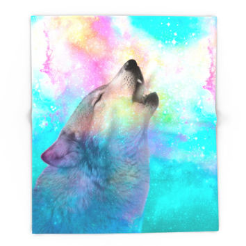 Society6 Breathing Dreams Like Air (Wolf Howl Abstract) Blanket