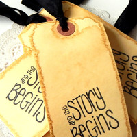 Coffee Stained Hang Tags. Scrapbook Tags. Handmade Tags. Vintage Tags. Rustic Tags. Journal Tag. Embellishment Kit. Black Seam Binding.