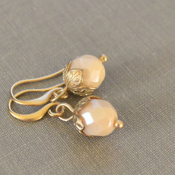 Winter Berry Earrings, Cream and Gold, Glass Bead Earrings, Simple and Elegant, Winter Bridal Earrings, Gift for Her, Gift under 15