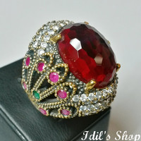 Authentic Turkish Ottoman Style Handmade 925 Sterling Silver Ring With Zircon Stone.