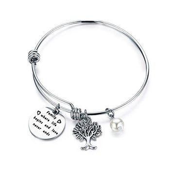 Gzrlyf Family Tree Bracelet Family Where Life Begins And Love Never Ends Bracelet Jewelry for Mom