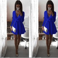 Sexy Deep V Neck Bowknot Long Sleeve Short Dress