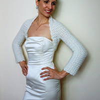 BRIDAL BOLERO / Ivory WEDDING Shrug / Crochet Lace Bolero Jacket /Wedding Ivory Bolero / Crochet Bridal Shrug