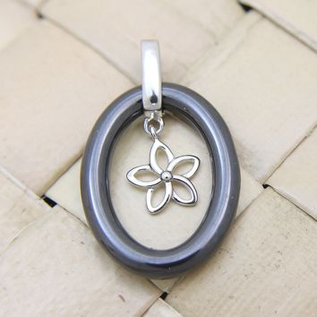 925 Sterling Silver Rhodium Hawaiian Plumeria Flower Black Ceramic Oval Pendant
