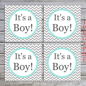 Printable Boy Baby Shower Labels Tags Cupcake Toppers Favors Baby Shower Decorations (01) - instant download