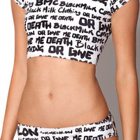 Nylon vs. Death 2 Piece White and Black Swimsuit Top | Black Milk Clothing