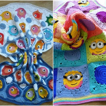 Combo pack of crochet baby blanket pattern ,crochet blanket with fish motifs,minion blanket,crochet minion granny square blanket, minion