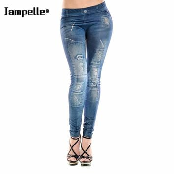 Women High Waist Jeans Painting Denim Ripped Faux Jean Pants Legging Skinny Jegging Stretchy Leggings Pencil Trousers Tight pant