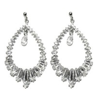 Jacinda CZ Cluster Dangle Chandelier Earrings | Cubic Zirconia | Silver