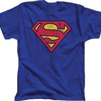 Superman Distressed Printed Logo Royal Blue Adut T-shirt  - Superman - | TV Store Online