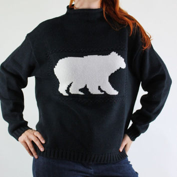 SALE - Retro 90s Black Polar Bear Pullover Sweater.  Fall Winter