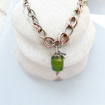 Green Anklet / Bootlet of Lampwork Glass Bead, Copper and Brass  Free Shipping