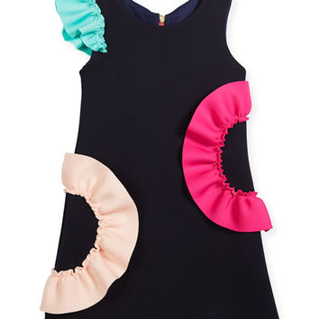 Zoe Neoprene Ruffle Shift Dress, Size 7-16