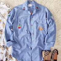 Vintage Embroidered Chambray Shirt