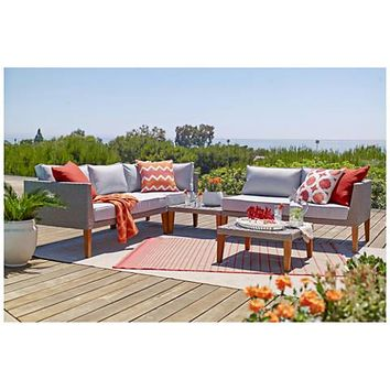 Alain Gray Wicker 5-Piece Outdoor Sectional Patio Set - #18A79 | Lamps Plus